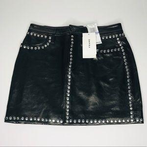 Frame Lamb Leather Studded Mini Skirt
